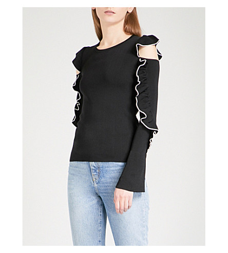 MAJE Madeline ruffled cold shoulder knitted jumper (Black