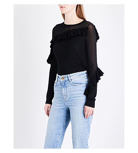 MAJE Malia sheer-panel ruffled knitted jumper (Black