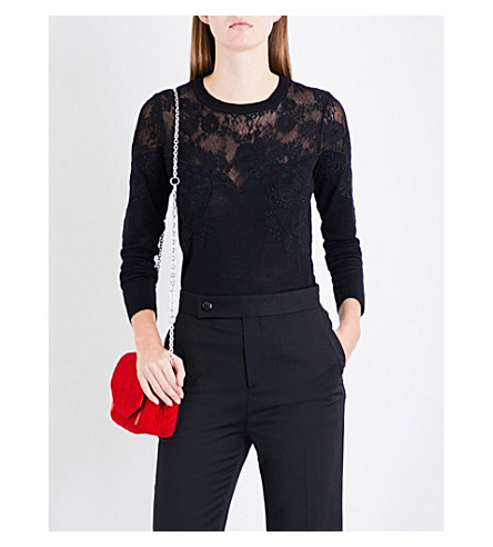 MAJE Manoir floral-embroidered lace knitted jumper (Black