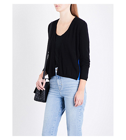 MAJE Marcia zipped-contrast knitted cardigan (Black