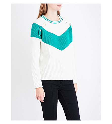 MAJE Mariana popper-front knitted jumper (Green