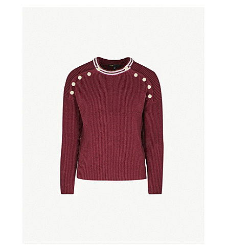 MAJE Mariano button-detailed ribbed cotton-blend jumper (Bordeaux