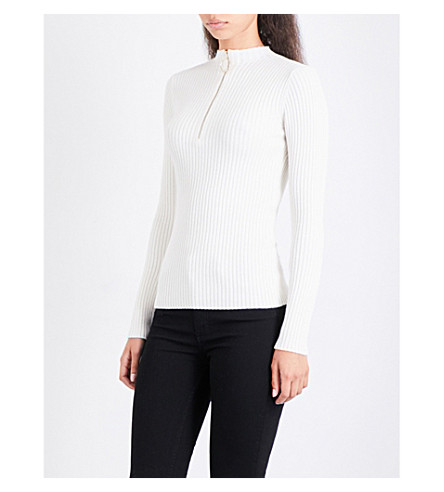 MAJE Mariano ribbed-knit jumper (Ecru
