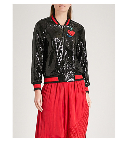 MAJE Marine embroidered-detail sequin bomber jacket (Black