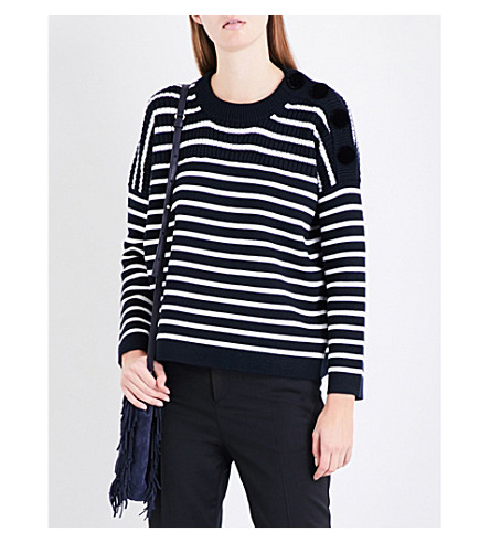 MAJE Market striped knitted jumper (Blue