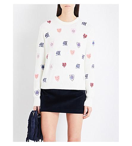 MAJE Martela embroidered knitted jumper (Cream