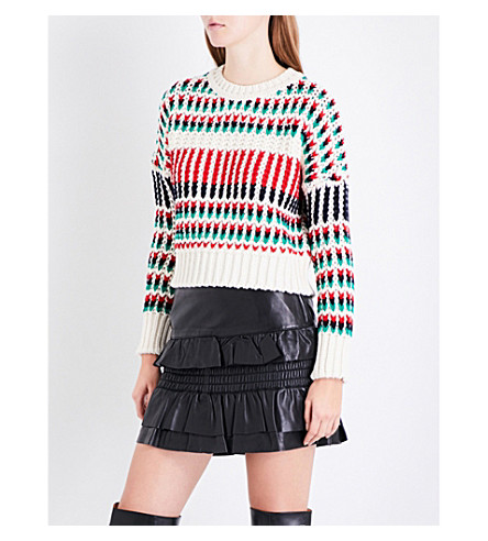 MAJE Massimo striped chunky-knit jumper (Multi-coloured