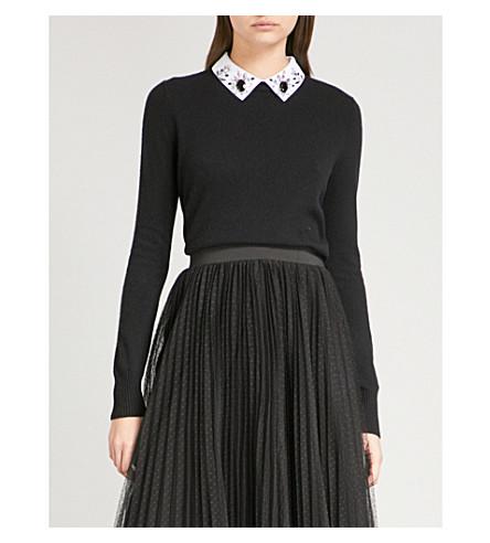 MAJE Matin diamante-collar knitted jumper (Black