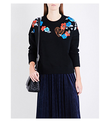 MAJE Meditatio floral and logo embroidered wool-blend jumper (Black