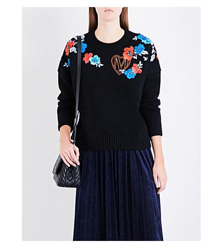 MAJE Meditatio floral and logo embroidered wool-blend jumper (Black