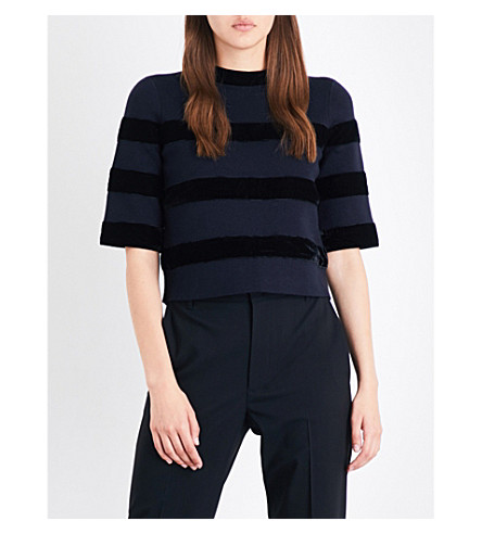 MAJE Meline velvet striped knitted top (Navy