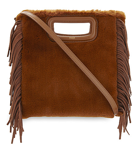 MAJE M faux-fur shoulder bag (Caramel