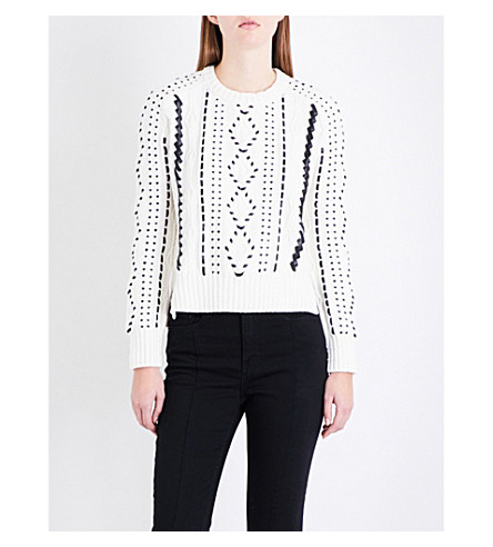 MAJE Mila faux-leather-embroidered knitted jumper (Cream