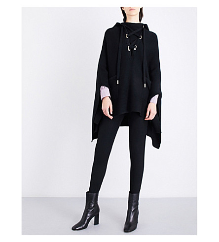 MAJE Million knitted lace-up poncho (Black+210
