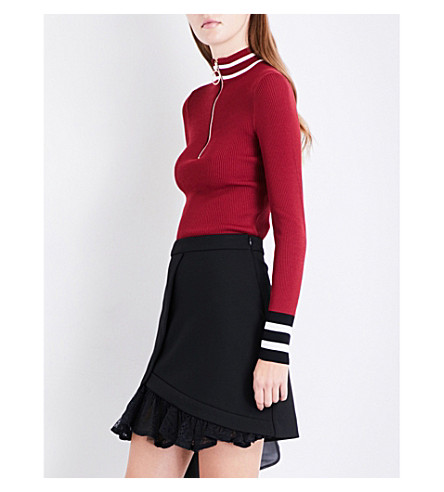 MAJE Minaudier zip-front ribbed-knit top (Burgundy