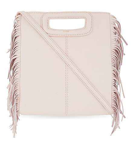 MAJE Fringed leather cross-body bag (Nude