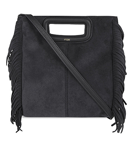 MAJE M fringe leather shoulder bag (Black+210