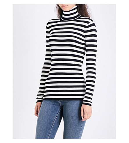 MAJE Molleton turtleneck striped knitted jumper (Two-tone