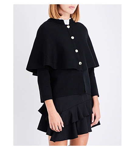 MAJE Montreux cape overlay knitted cardigan (Black+210