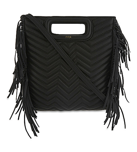 MAJE Fringed leather cross-body bag (Black+210