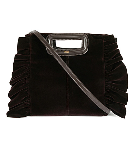 MAJE Velvet cross-body bag (Bordeaux