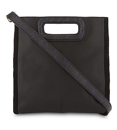 MAJE Leather and suede cross-body bag (Two-tone