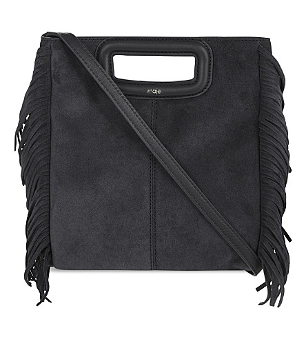 MAJE Suede cross-body bag (Black+210