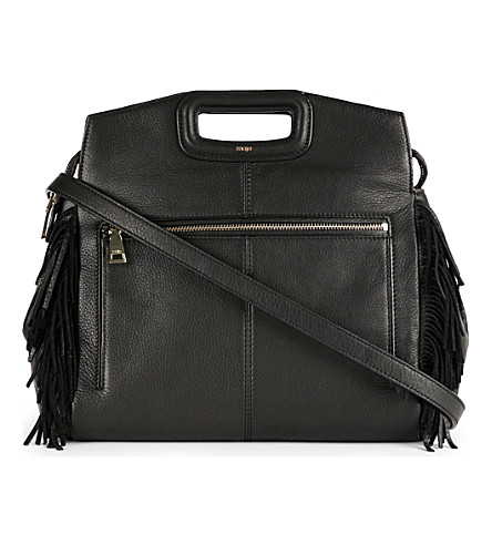 MAJE Fringe-trim leather cross-body bag (Black+210