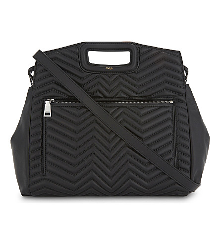 MAJE M zigzag quilted leather tote (Black+210