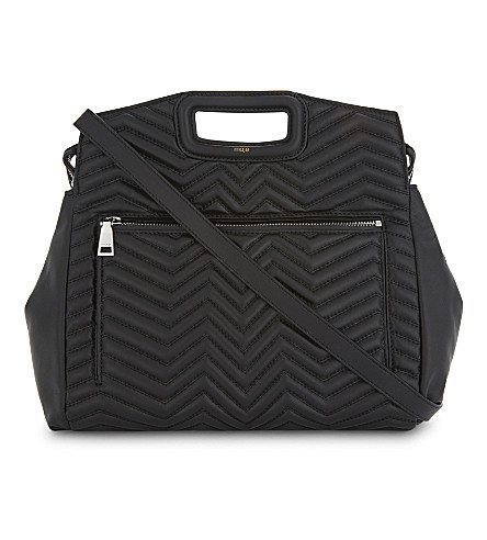 MAJE M zigzag quilted leather tote (Black