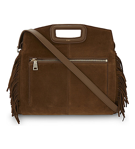 MAJE Marine suede cross-body bag (Camel