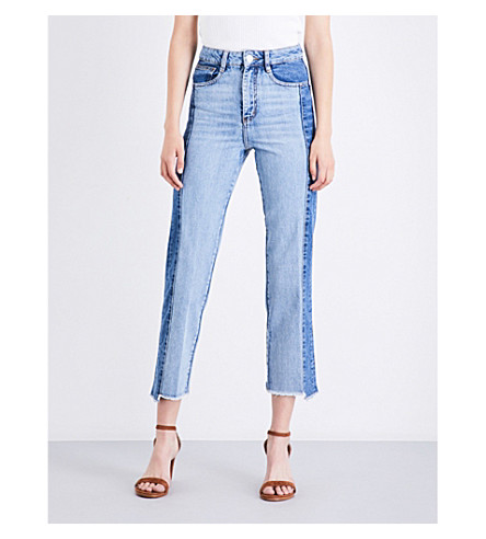 MAJE Packy straight cropped high-rise jeans (Blue