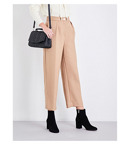 MAJE Paige wide cropped high-rise twill trousers (Tan