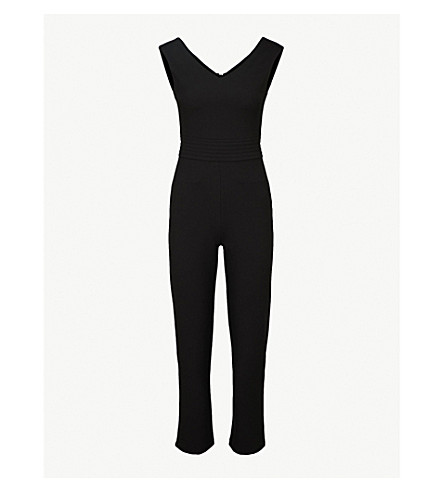 MAJE Pama V-neck crepe jumpsuit (Black