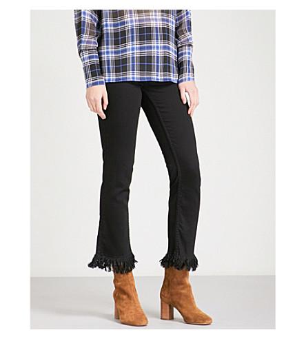 MAJE Panako frayed-hem skinny high-rise jeans (Black
