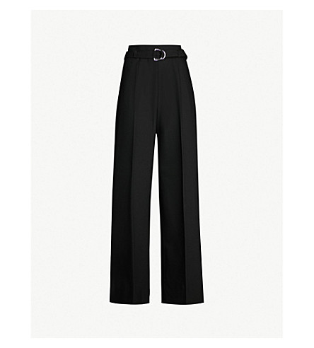 MAJE Parc wide-leg crepe trousers (Black