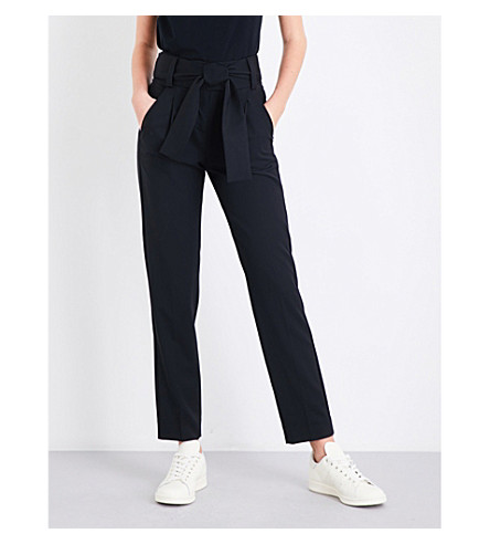 MAJE Paris tapered high-rise twill trousers (Black+210