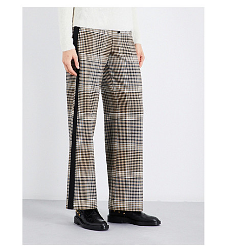 MAJE Parma Prince of Wales check wide-leg high-rise trousers (Jacquard