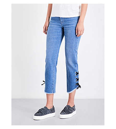 MAJE Phare eyelet-embellished boyfriend high-rise jeans (Blue