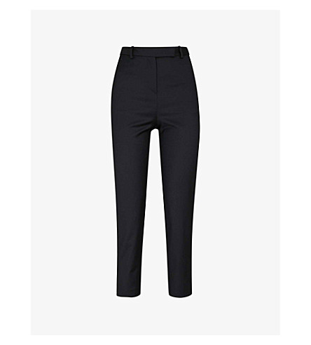 MAJE Piesta tapered cropped mid-rise woven trousers (Black
