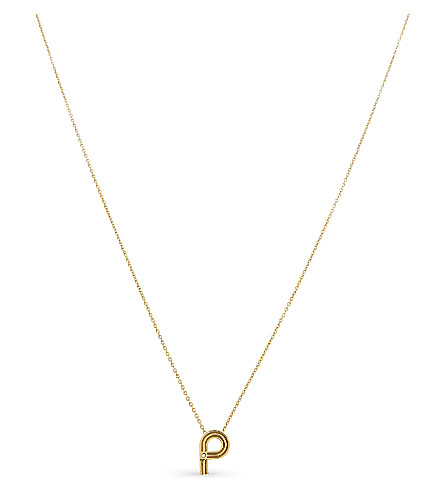 MAJE 'P' initial pendant necklace (Gold