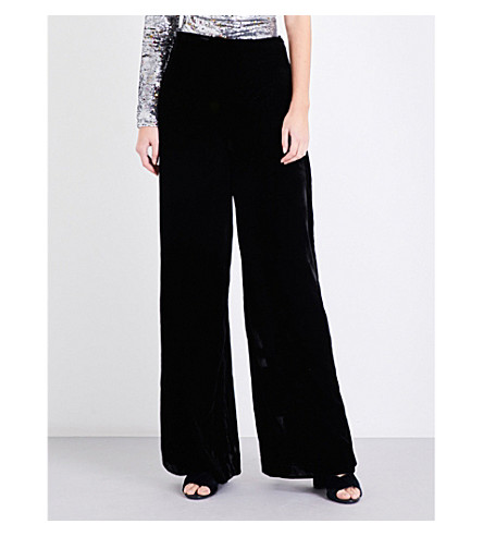 MAJE Prali wide-leg velvet trousers (Black