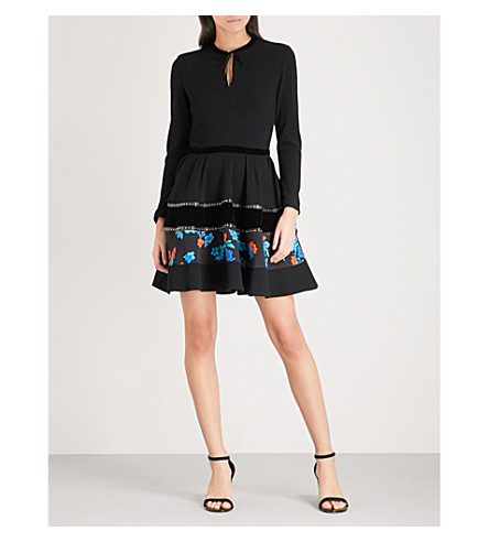 MAJE Rafa contrast-panel crepe mini dress (Black