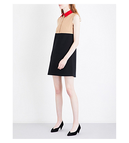 MAJE Raiano contrasting collar cotton-blend dress (Multico