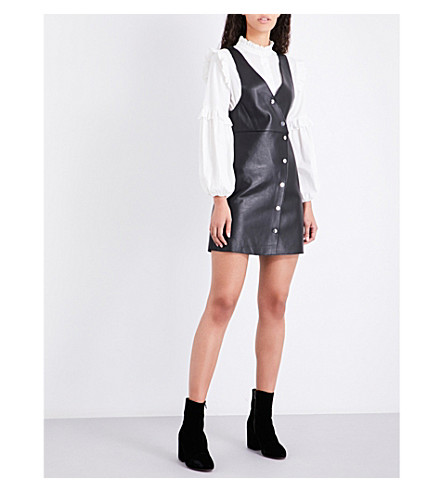 MAJE Rajani V-neck leather dress (Black+210
