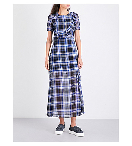 MAJE Rancha check chiffon midi dress (Printed