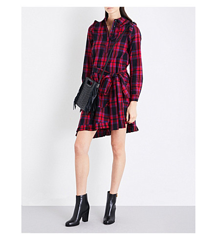 MAJE Randra check cotton shirt dress (Multi-coloured