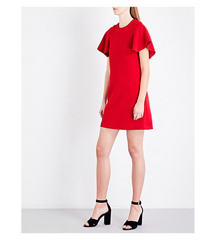 MAJE Rastel flared-sleeve dress (Red