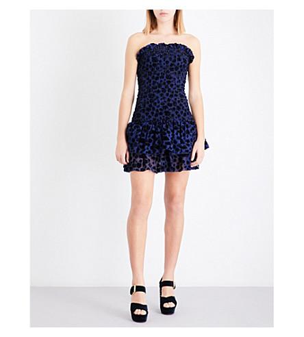 MAJE Raziel leopard-patterned fil-coupé dress (Bleu