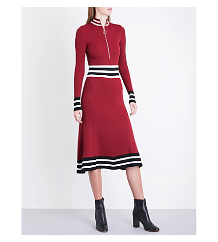 MAJE Reinette striped-trims ribbed dress (Burgundy